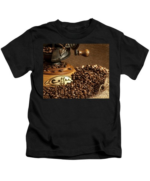 Coffee Grinder With Beans Kids T-Shirt
