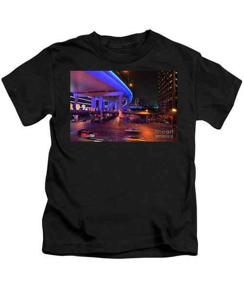 Colorful Night Traffic Scene In Shanghai China Kids T-Shirt