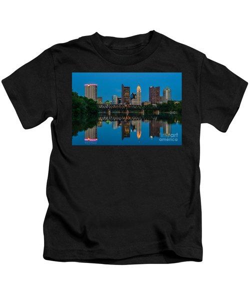 Columbus Ohio Night Skyline Photo Kids T-Shirt