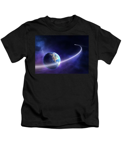 Comet Moving Past Planet Earth Kids T-Shirt