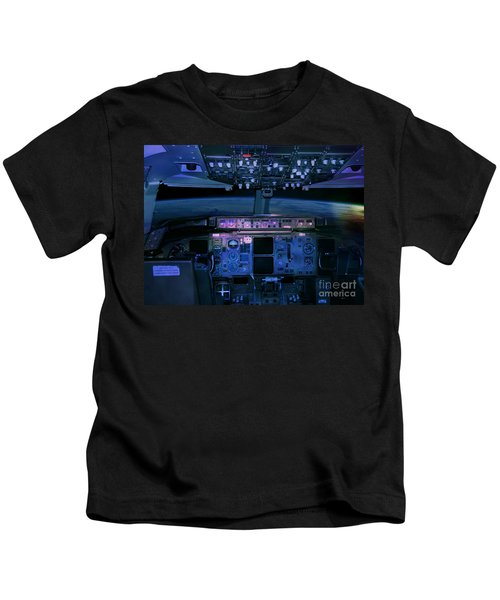 Commercial Airplane Cockpit By Night Kids T-Shirt