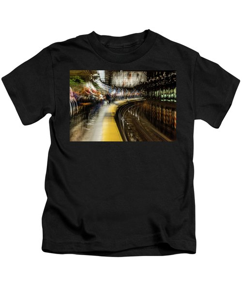 Commuters In Nyc Subway System Kids T-Shirt