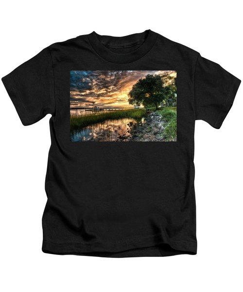 Coosaw Plantation Sunset Kids T-Shirt