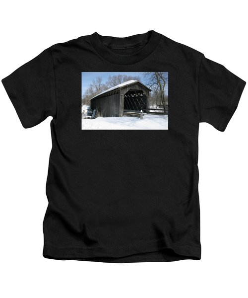 Covered Bridge In Winter Kids T-Shirt