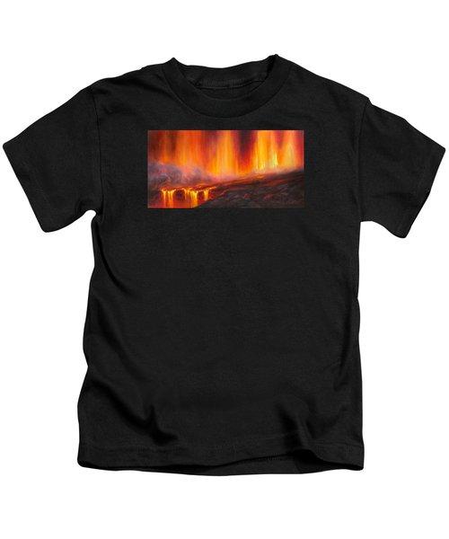 Erupting Kilauea Volcano On The Big Island Of Hawaii - Lava Curtain Kids T-Shirt