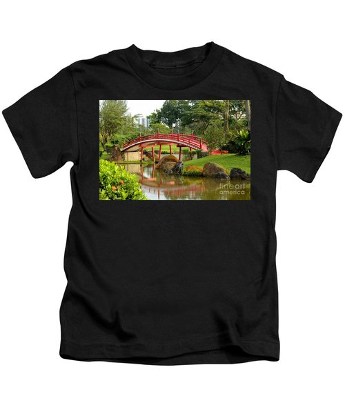 Curved Red Japanese Bridge And Stream Chinese Gardens Singapore Kids T-Shirt