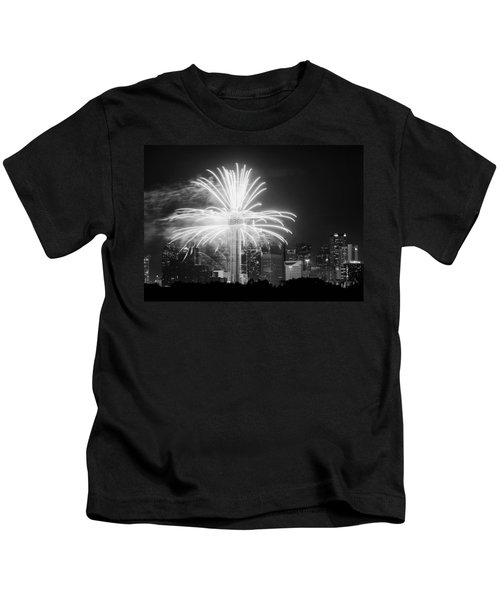Dallas Reunion Tower Fireworks Bw 2014 Kids T-Shirt