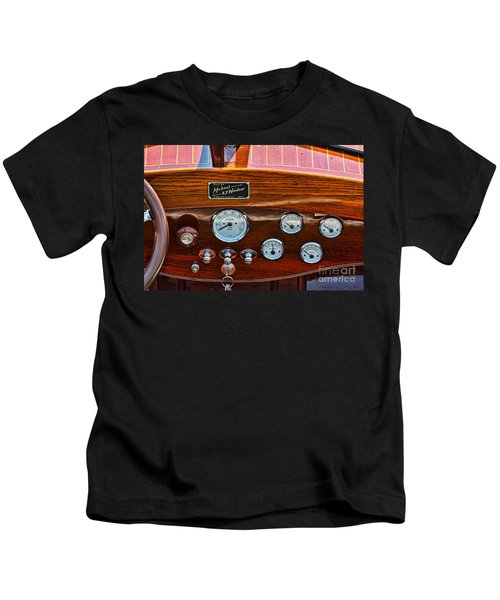 Dashboard In A Classic Wooden Boat Kids T-Shirt