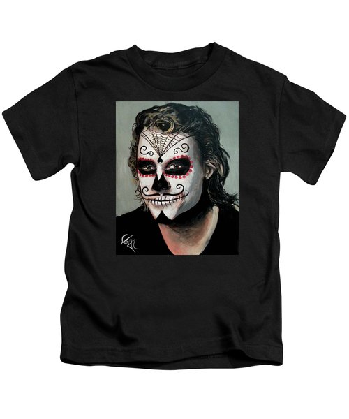 Day Of The Dead - Heath Ledger Kids T-Shirt by Tom Carlton