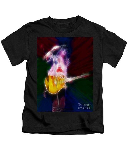 Deff Leppard-adrenalize-joe-gf25-fractal Kids T-Shirt by Gary Gingrich Galleries