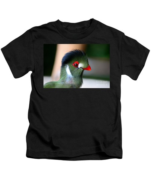Delicate Green Turaco Bird With Red Beak White Patches And Black Crown Kids T-Shirt