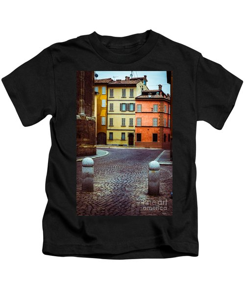 Deserted Street With Colored Houses In Parma Italy Kids T-Shirt