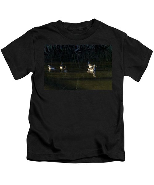 Digital Oil Of Sandpipers Kids T-Shirt