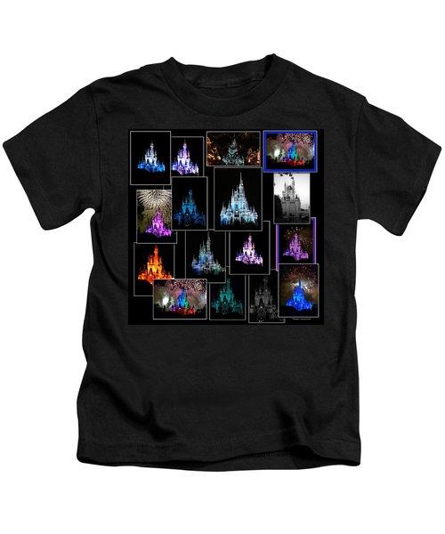 Disney Magic Kingdom Castle Collage Kids T-Shirt