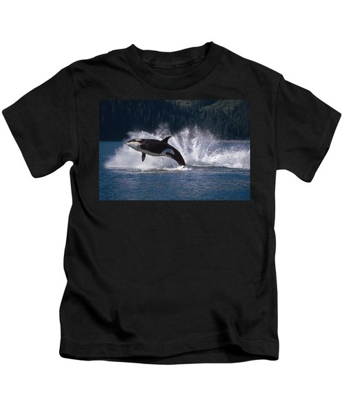 Double Breaching Orcas Bainbridge Kids T-Shirt
