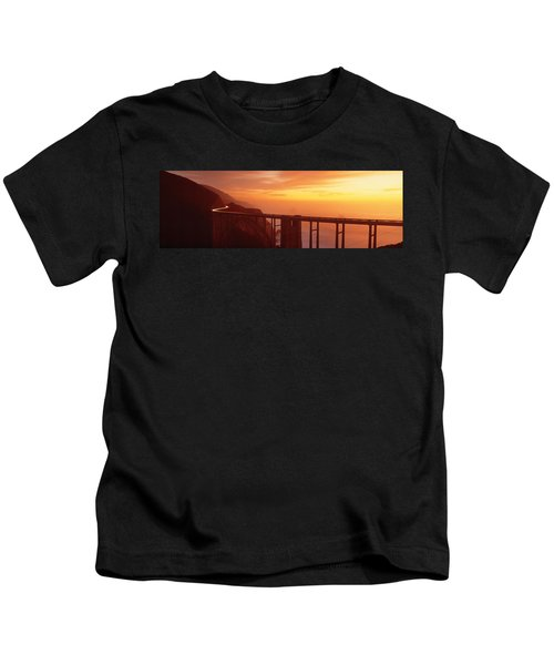 Dusk Hwy 1 W Bixby Bridge Big Sur Ca Usa Kids T-Shirt