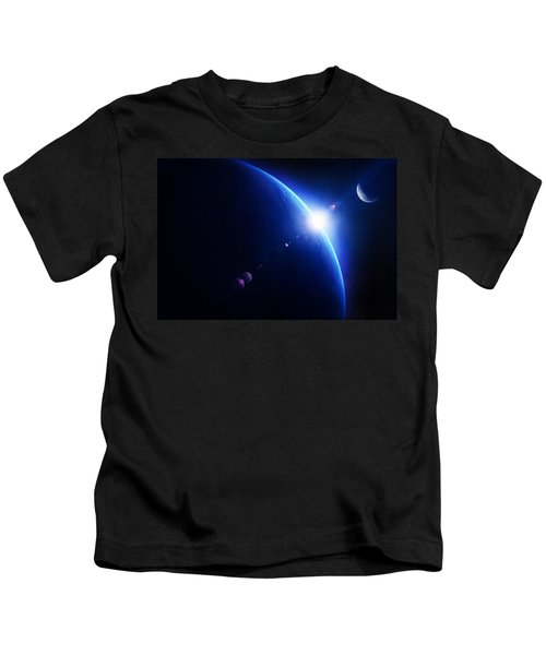 Earth Sunrise With Moon In Space Kids T-Shirt
