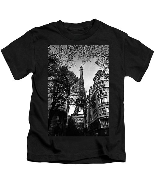Eiffel Tower Black And White Kids T-Shirt