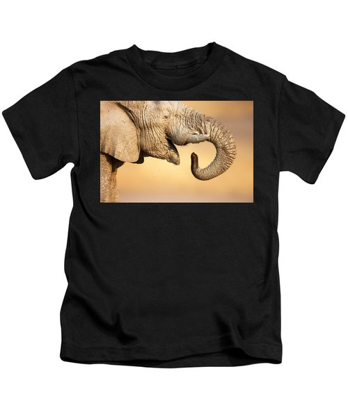 Elephant Drinking Kids T-Shirt
