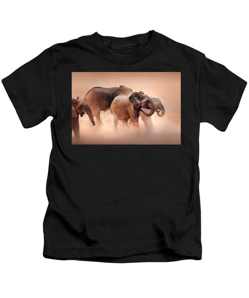 Elephants In Dust Kids T-Shirt