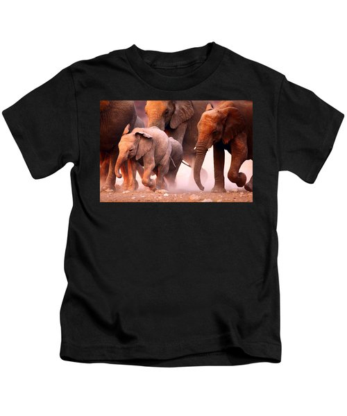 Elephants Stampede Kids T-Shirt