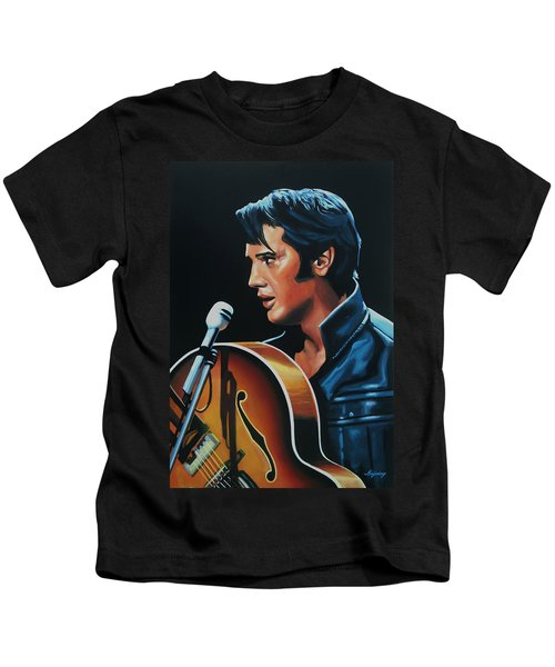 Elvis Presley 3 Painting Kids T-Shirt by Paul Meijering