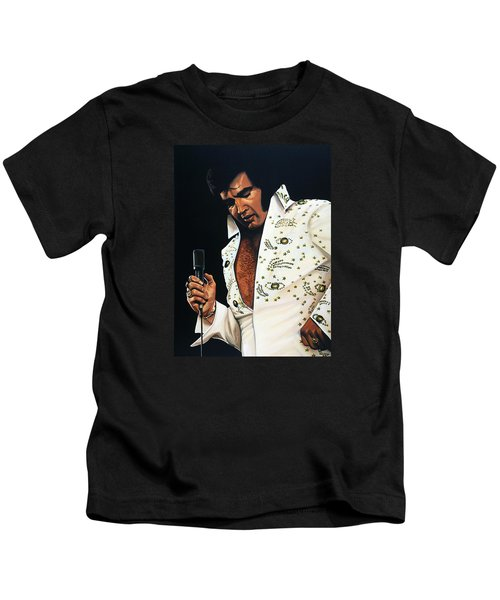 Elvis Presley Painting Kids T-Shirt by Paul Meijering