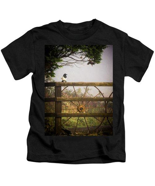 Eurasian Magpie In Morning Mist Kids T-Shirt