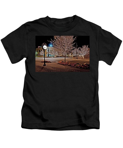 Fairhope Ave With Clock Night Image Kids T-Shirt