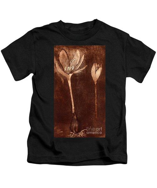 Fall Time - Autumn Crocus Meadow Safran Kids T-Shirt
