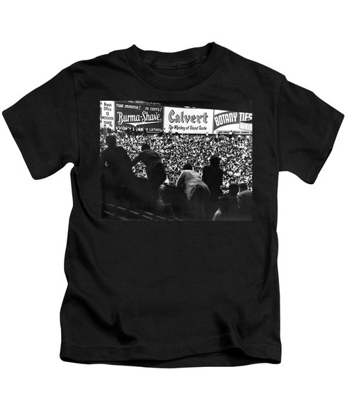 Fans In The Bleachers During A Baseball Game At Yankee Stadium Kids T-Shirt by Underwood Archives