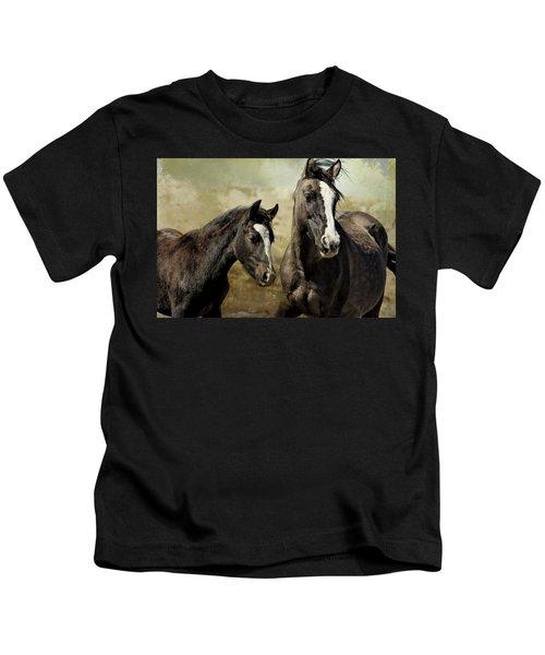 Feldspar And Ohanzee  - Pryor Mustangs Kids T-Shirt