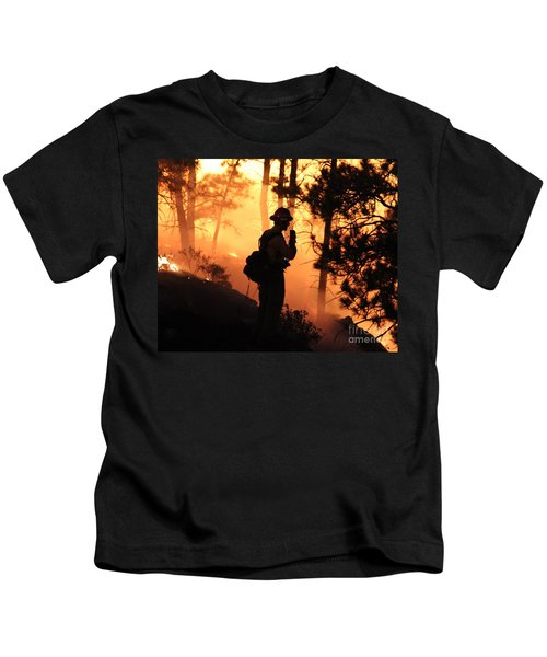 Firefighter At Night On The White Draw Fire Kids T-Shirt