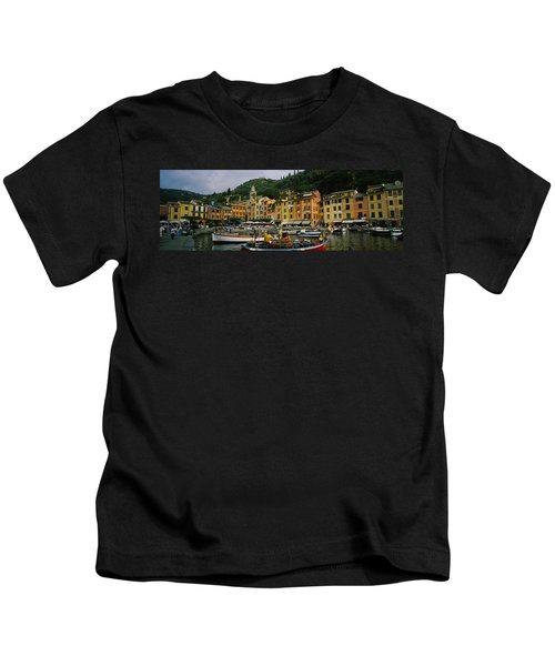Fishing Boats At The Harbor, Portofino Kids T-Shirt