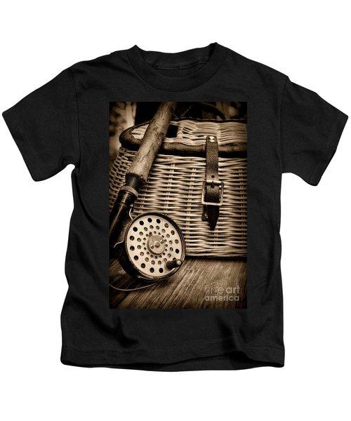 Fishing - Fly Fishing - Black And White Kids T-Shirt