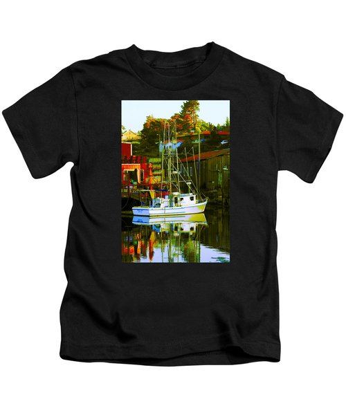 Fish'n Boat At Harbor Kids T-Shirt