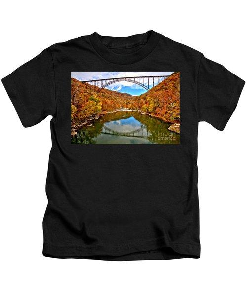 Flaming Fall Foliage At New River Gorge Kids T-Shirt
