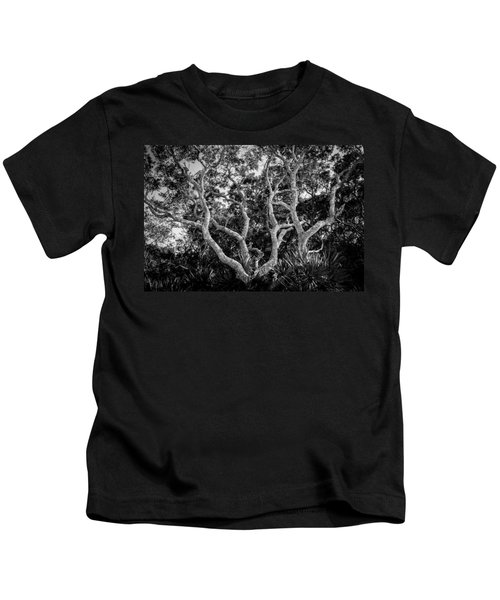Florida Scrub Oaks Bw   Kids T-Shirt
