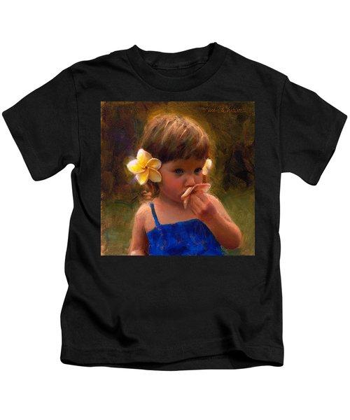 Flower Girl - Tropical Portrait With Plumeria Flowers Kids T-Shirt