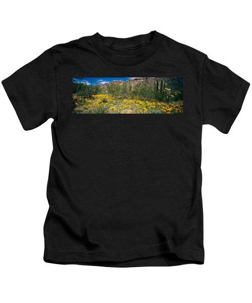 Flowers In A Field, Organ Pipe Cactus Kids T-Shirt