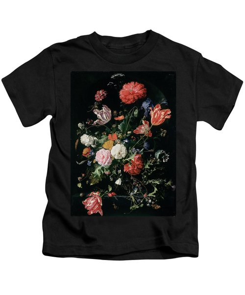 Flowers In A Glass Vase, Circa 1660 Kids T-Shirt