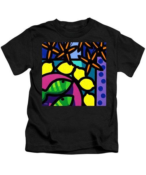Flowers Lemons Fish Kids T-Shirt