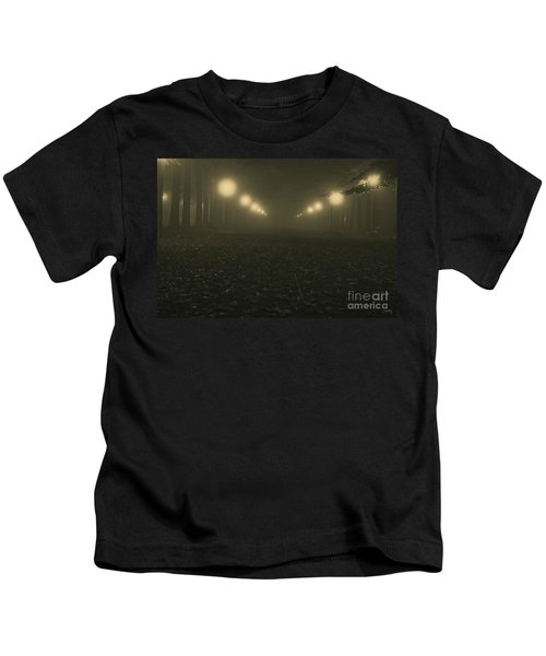 Foggy Night In A Park Kids T-Shirt