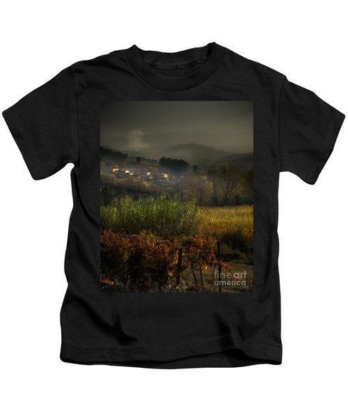 Foggy Tuscan Valley  Kids T-Shirt