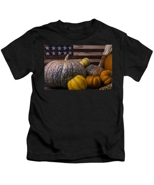 Folk Art Flag And Pumpkins Kids T-Shirt