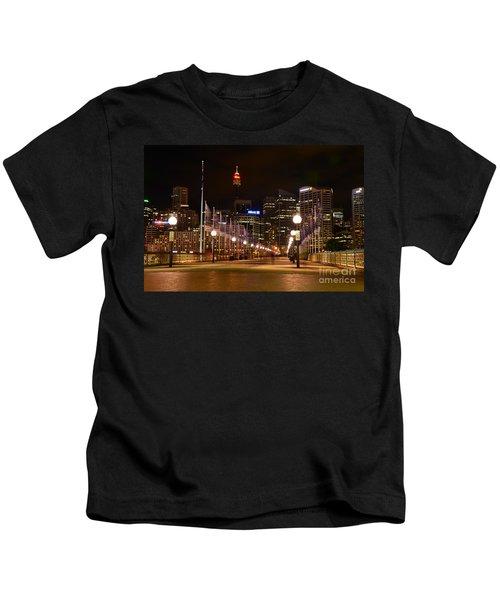 Foot Bridge By Night Kids T-Shirt by Kaye Menner