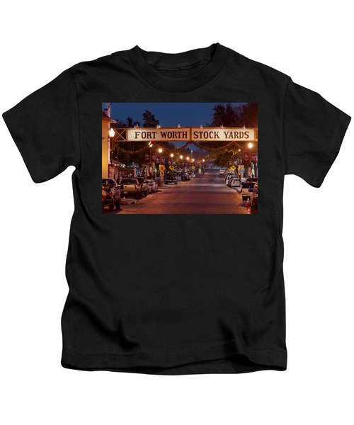 Fort Worth Stock Yards Night Kids T-Shirt