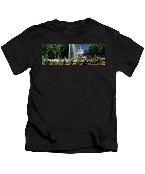 Fountain In A Garden In Front Kids T-Shirt by Panoramic Images