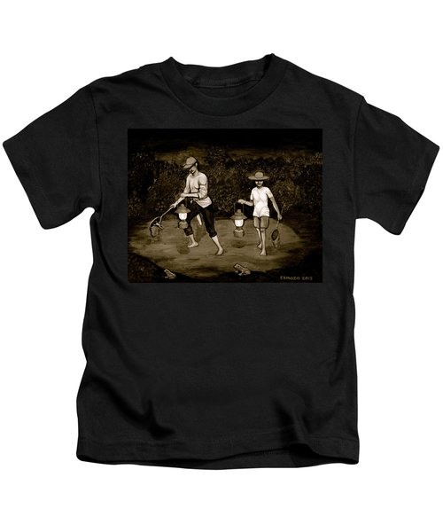 Frog Hunters Black And White Photograph Version Kids T-Shirt