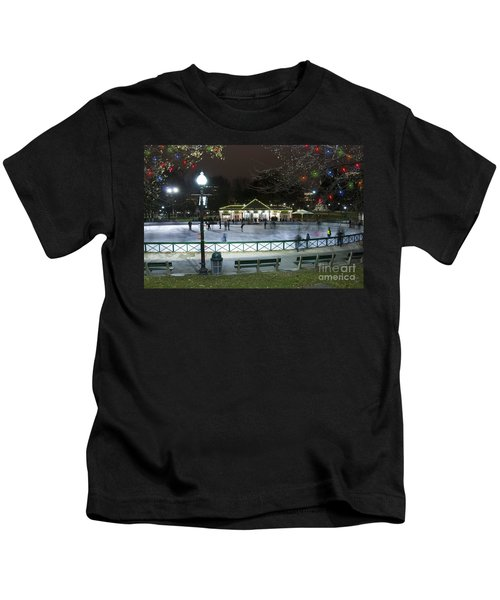Frog Pond Ice Skating Rink In Boston Commons Kids T-Shirt